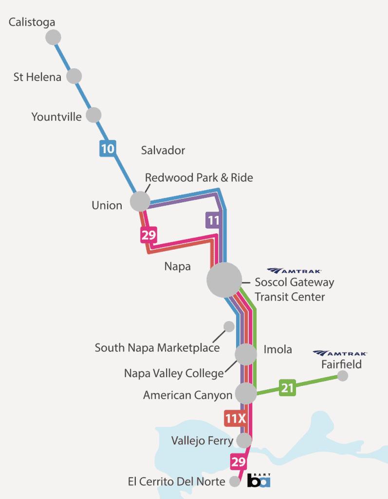 Rotas de Ônibus no Napa Valley